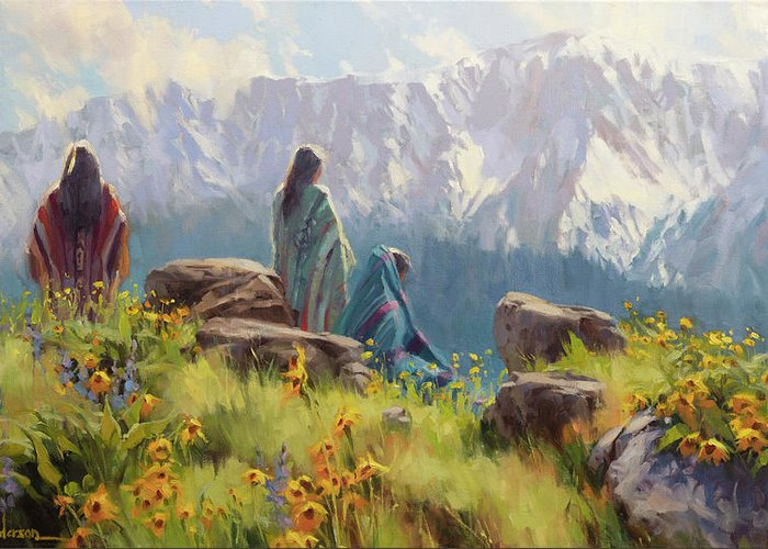Nez Perce Greeting Card featuring the painting This Was Our Shangri-La by Steve Henderson