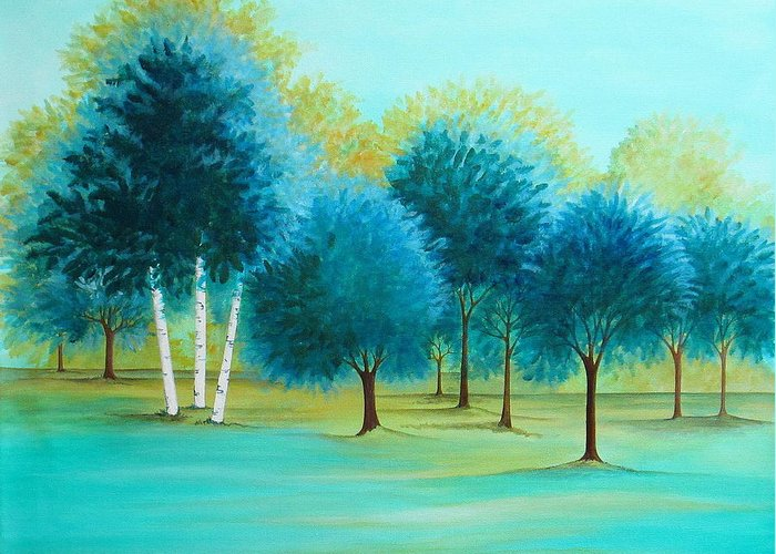 Social Spacing Greeting Card featuring the painting Three Birch Trees by Carol Sabo
