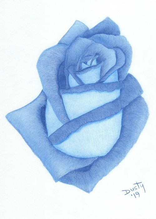 Rose Greeting Card featuring the drawing Three Shades of Blue by Dusty Reed