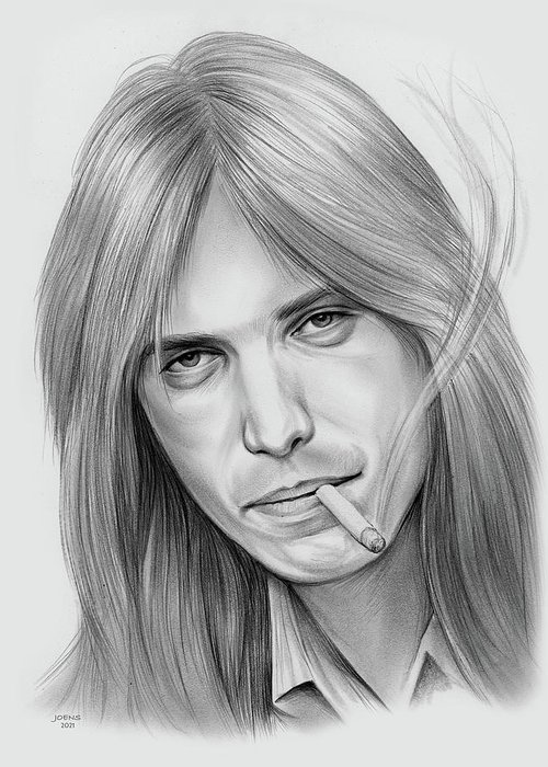 Tom Petty Greeting Card featuring the drawing Tom Petty - Pencil by Greg Joens
