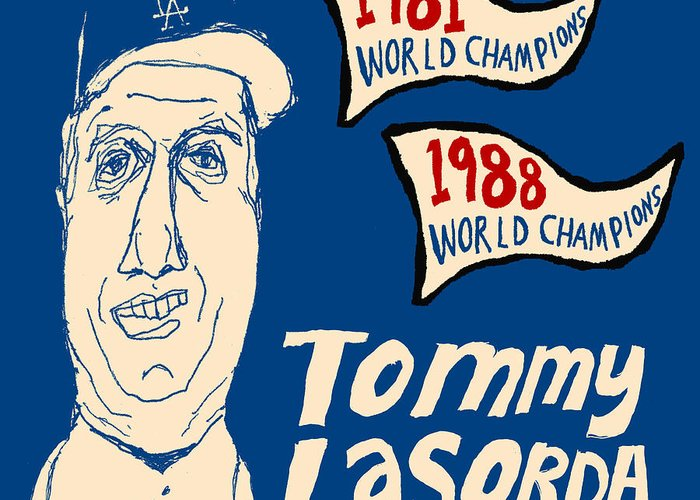 Los Angeles Dodgers Greeting Card featuring the painting Tommy Lasorda Los Angeles Dodgers by JB Perkins