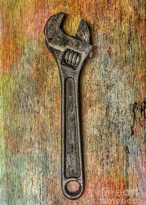Tool On Rusty Metal Greeting Card featuring the digital art Tool on Rusty Metal Two by Randy Steele