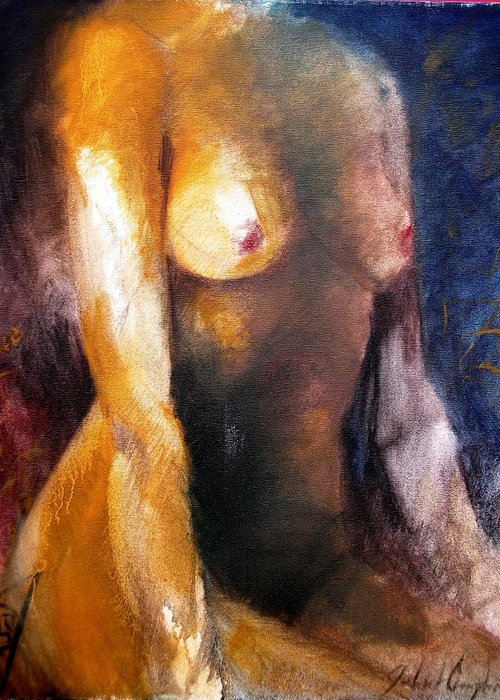 Figure Greeting Card featuring the painting Torso 2 by John L Campbell