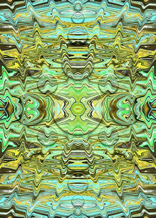 Abstract Greeting Card featuring the digital art Turtle Shell Suezo by Jack Entropy