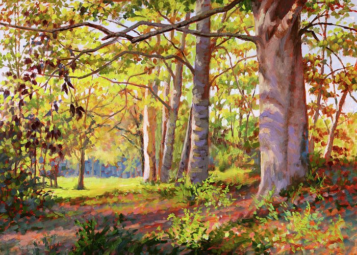 Oil Greeting Card featuring the painting Underneath The Maples by Keith Burgess