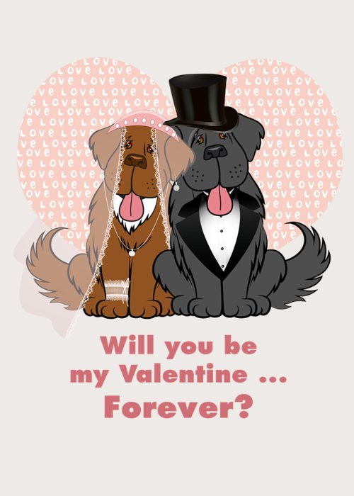 Newf Greeting Card featuring the digital art Valentine Proposal by Christine Mullis