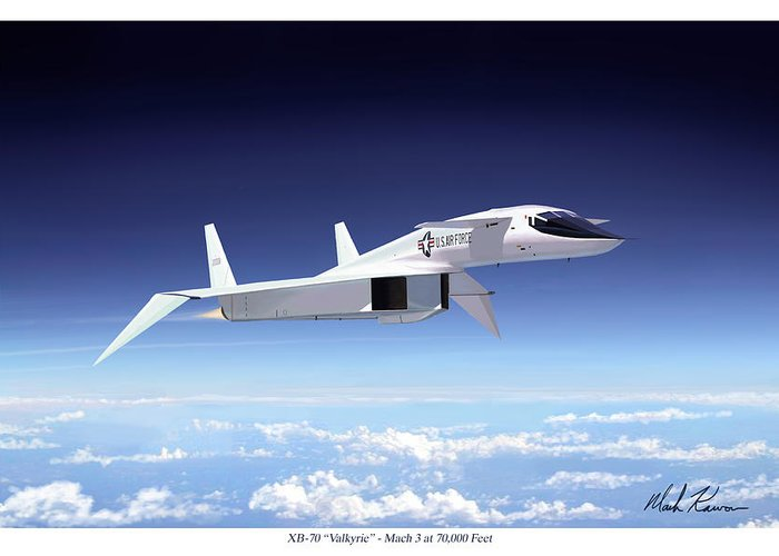 Aviation Greeting Card featuring the painting Valkyrie - Mach 3 At 70000 Feet by Mark Karvon