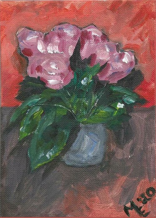 Rose Greeting Card featuring the painting Vase of Roses by Monica Resinger