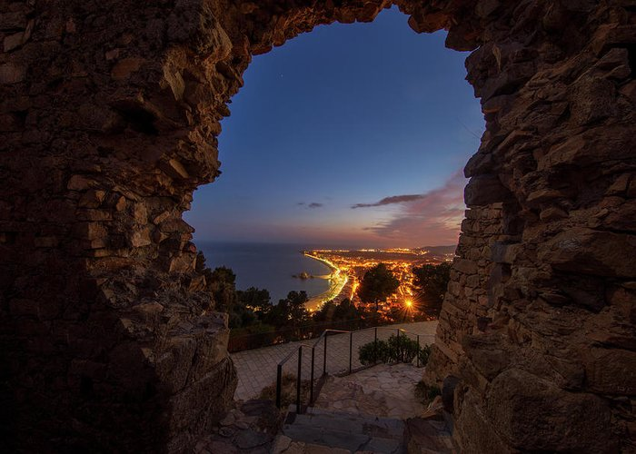 Blanes Greeting Card featuring the photograph View Of Blanes At Night From The Castle by Vicen Photography