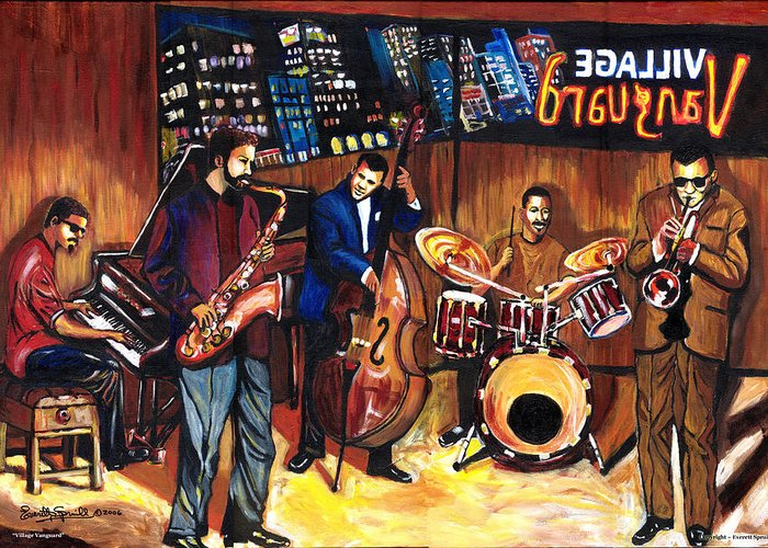 Everett Spruill Greeting Card featuring the painting Village Vanguard by Everett Spruill