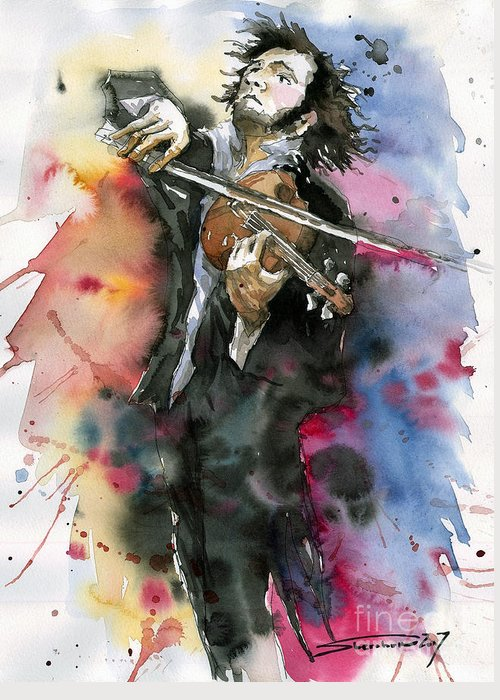 Music Greeting Card featuring the painting Violine player. by Yuriy Shevchuk