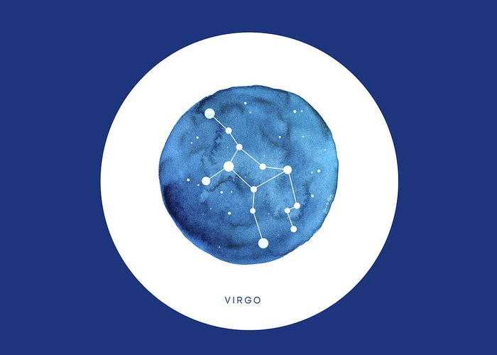 Virgo Greeting Card featuring the mixed media Virgo Constellation by Son Of the Moon