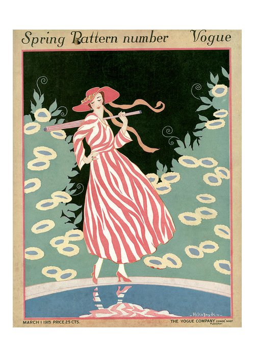 Illustration Greeting Card featuring the painting Vogue Cover Illustration Of A Woman Walking By A Pond by Helen Dryden