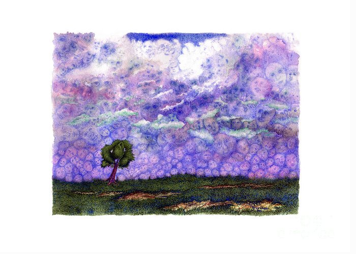 Clouds Greeting Card featuring the painting Voices in The Sky by Karen Wheeler