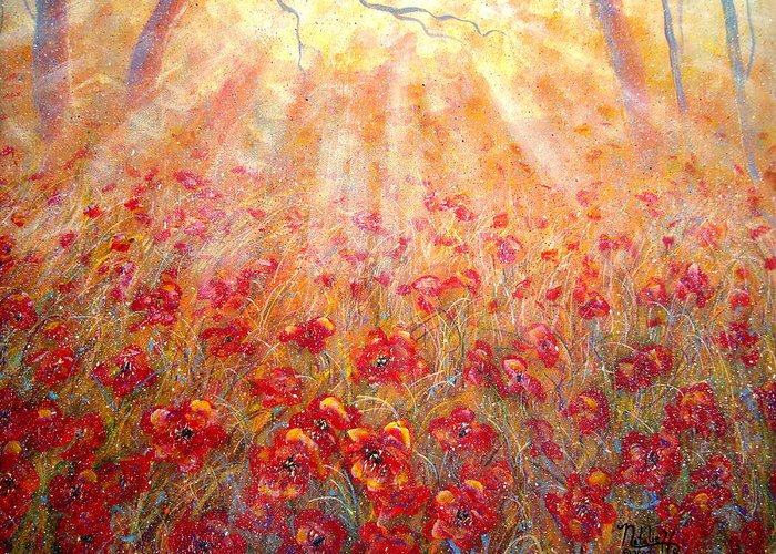 Landscape Greeting Card featuring the painting Warm Sun Rays by Natalie Holland