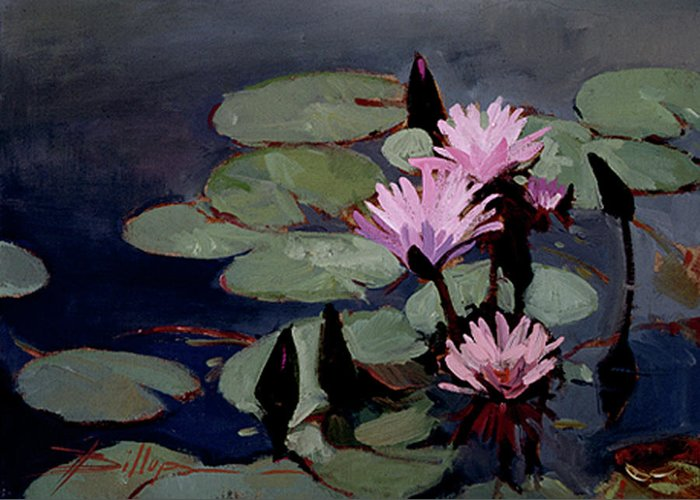 Water Lily Paintings Greeting Card featuring the painting Water Trio - Water Lilies by Betty Jean Billups
