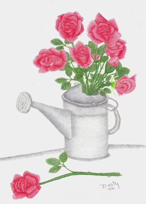 Rose Greeting Card featuring the drawing Watering Can With Red Roses by Dusty Reed