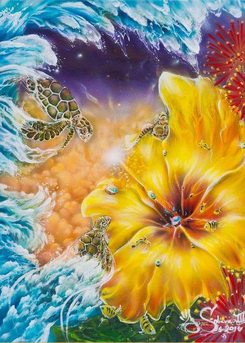 Aloha! Honu Hawaii Art Hibiscus Coral Reefs Flowers Floral Reefs Greeting Card featuring the painting Wave of the Honu by Joel Salinas III
