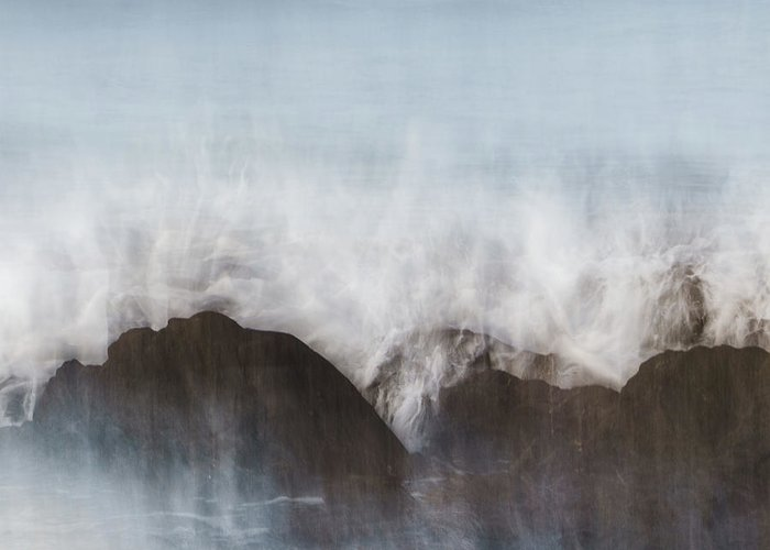 Abstract Greeting Card featuring the photograph Wavecrash by Bear R Humphreys