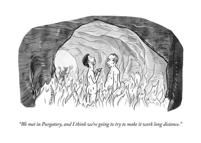 """we Met In Purgatory Greeting Card featuring the drawing We Met In Purgatory by Sofia Warren"