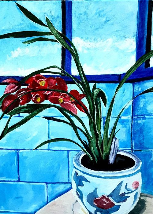 Still Life Greeting Card featuring the painting Welcome Flower by Andrew Johnson