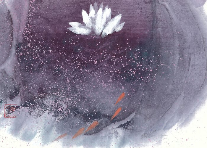 A Brilliant White Lotus In A Pond With Delightful Fish. It's A Simple Chinese Brush Painting On Rice Paper. Greeting Card featuring the painting White Lotus I by Mui-Joo Wee