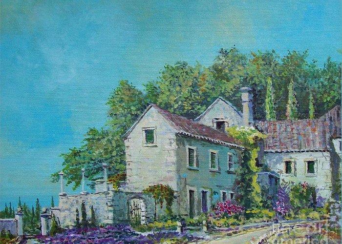Original Painting Greeting Card featuring the painting Village Vista by Sinisa Saratlic