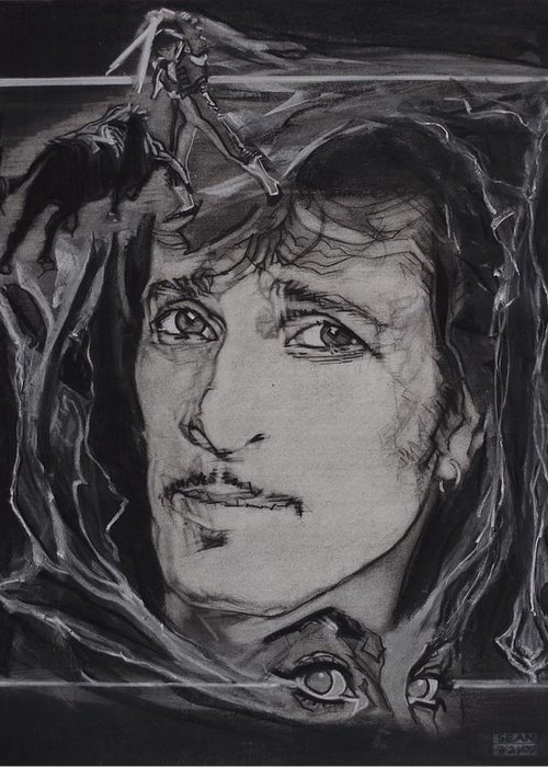 Charcoal On Paper Greeting Card featuring the drawing Willy DeVille - Coup de Grace by Sean Connolly