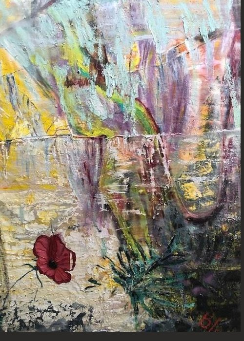 Flower Greeting Card featuring the painting Sunset on Wilmington  by Peggy Blood