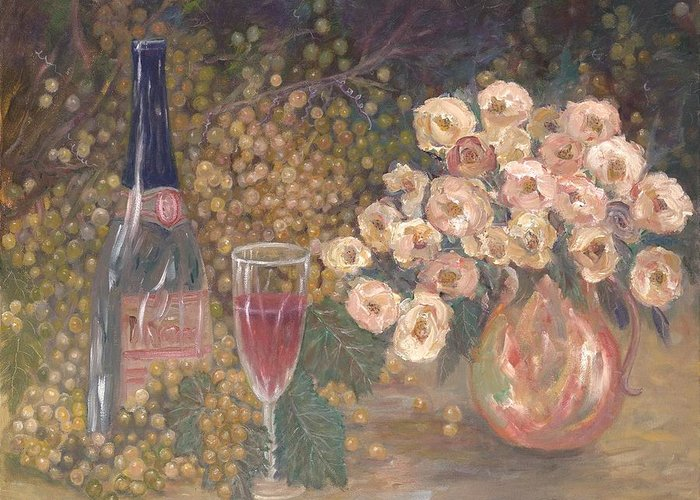 Stilllife; Floral; Wine Greeting Card featuring the painting Wine And Roses by Ben Kiger