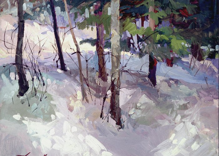 Landscape Greeting Card featuring the painting Winter Garden Plein Air by Betty Jean Billups