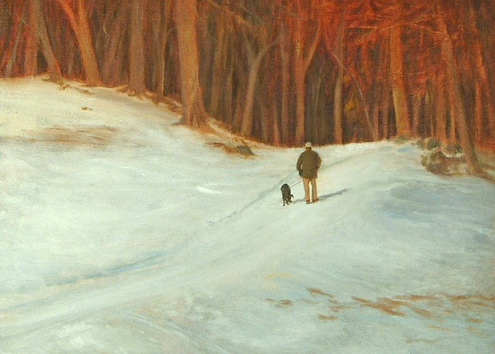 Landscape Greeting Card featuring the painting Winter Walk with Dog by Phyllis Tarlow