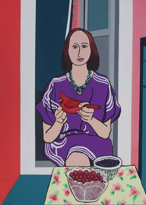 Bird Greeting Card featuring the painting Woman, Bird, and Berries - A Tribute to Henri Matisse by Rollin Kocsis