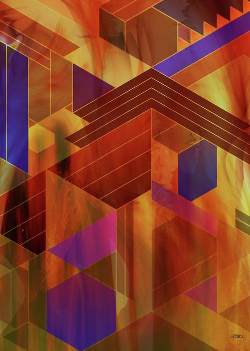 Wrightian Reflections Greeting Card featuring the digital art Wrightian Reflections by Studio B Prints