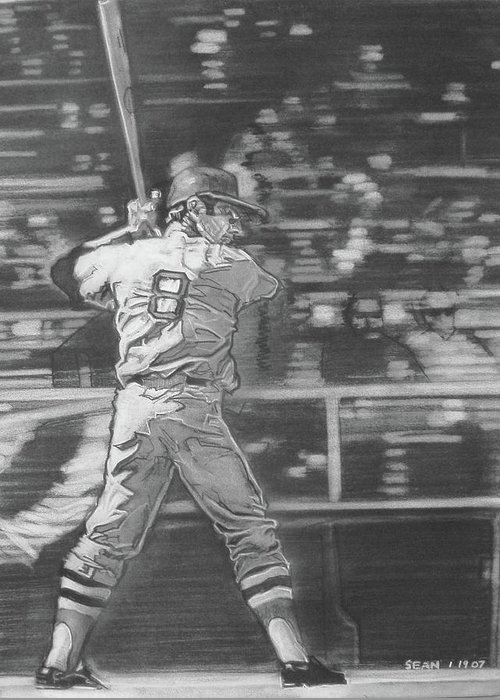 Charcoal On Paper Greeting Card featuring the drawing Yaz - Carl Yastrzemski by Sean Connolly