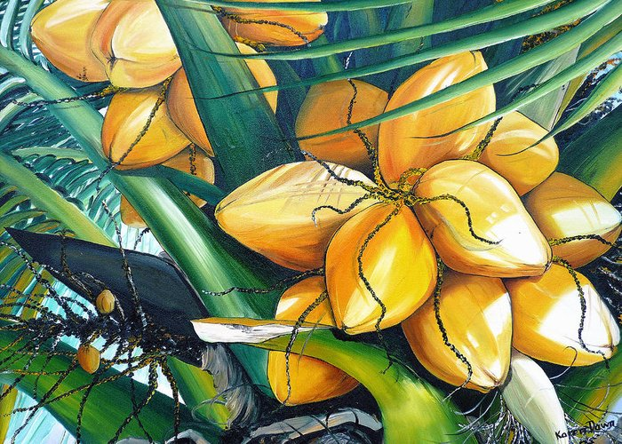 Coconut Painting Botanical Painting  Tropical Painting Caribbean Painting Original Painting Of Yellow Coconuts On The Palm Tree Greeting Card featuring the painting Yellow Coconuts by Karin Dawn Kelshall- Best