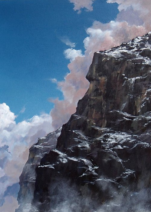 Yosemite Greeting Card featuring the painting Yosemite cliff face by Philip Fleischer