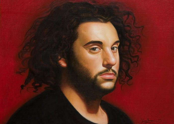Portrait Of A Young Man Greeting Card featuring the painting Young Man in Black by Gary Hernandez