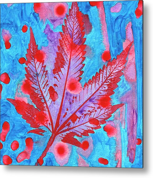 Blue Metal Print featuring the photograph Hand-made Illustrations With Leaf by Stock Pot Images
