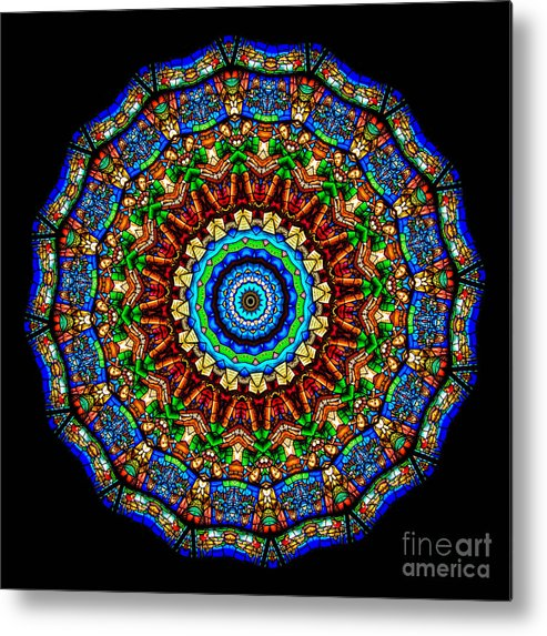Abstract Metal Print featuring the photograph Kaleidoscope Stained Glass Window Series by Amy Cicconi