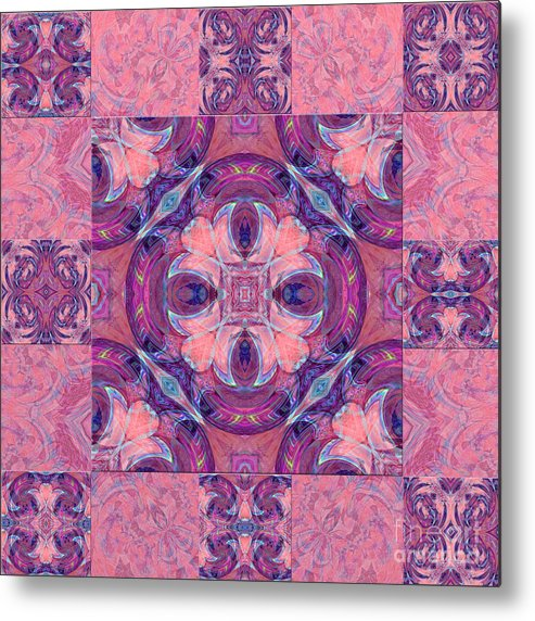 Water Droplet Metal Print featuring the photograph Kaleidoscope Art Peach by Lori Sulger