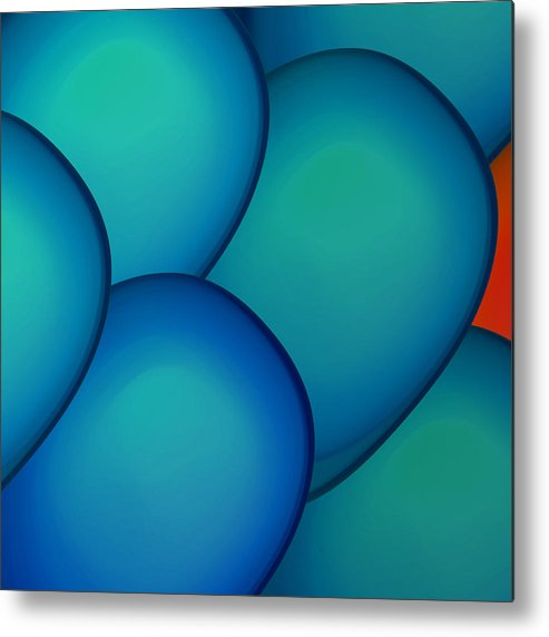Bobbles Metal Print featuring the digital art Orange Why by Barbara Basic Stelluti