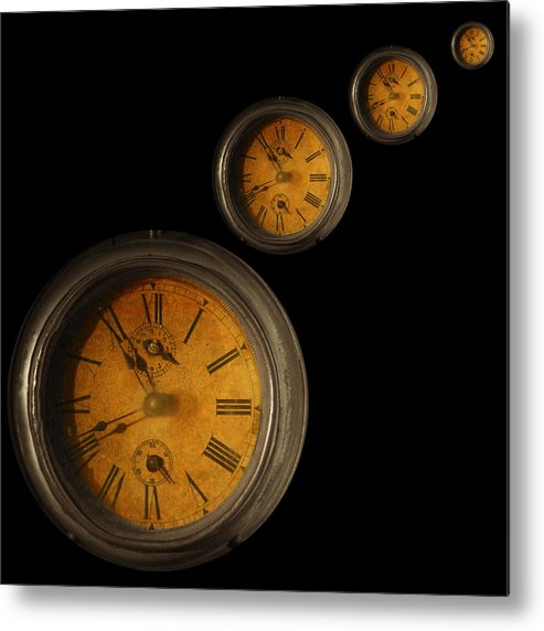 Old Clock Metal Print featuring the mixed media Time To Come by Barbara Basic Stelluti