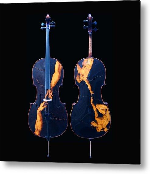Dino Muradian Metal Print featuring the pyrography Custom Gliga Cello by Dino Muradian