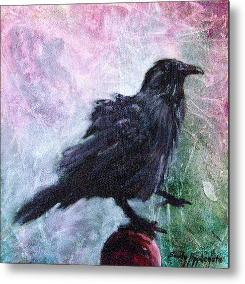 Raven Metal Print featuring the painting All Undaunted by Sandy Applegate