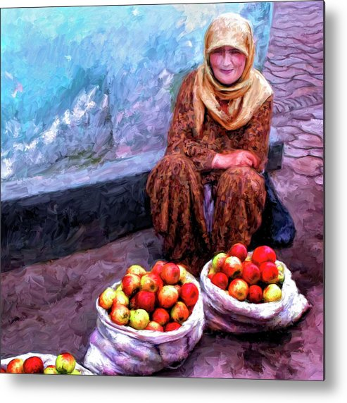 Apple Seller Metal Print featuring the painting Apple Seller by Dominic Piperata