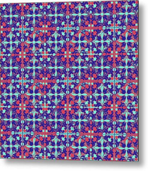 Seville Azulejo Metal Print featuring the mixed media Azulejos Magic Pattern - 07 by Andrea Mazzocchetti