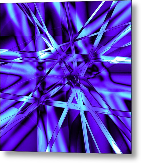 Abstract Metal Print featuring the digital art Blue Ice by Carl Perry