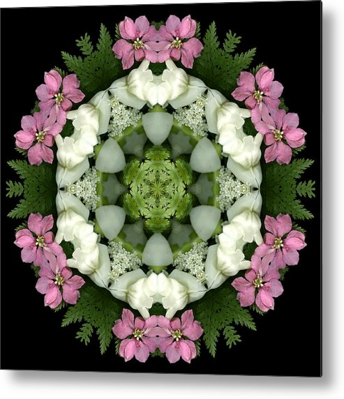 Mandala; Floral; Botanical; Scanner Photography; Scanography;snapdragons; Pink; White; Leaves; Metal Print featuring the photograph Bridesmaid by Marsha Tudor