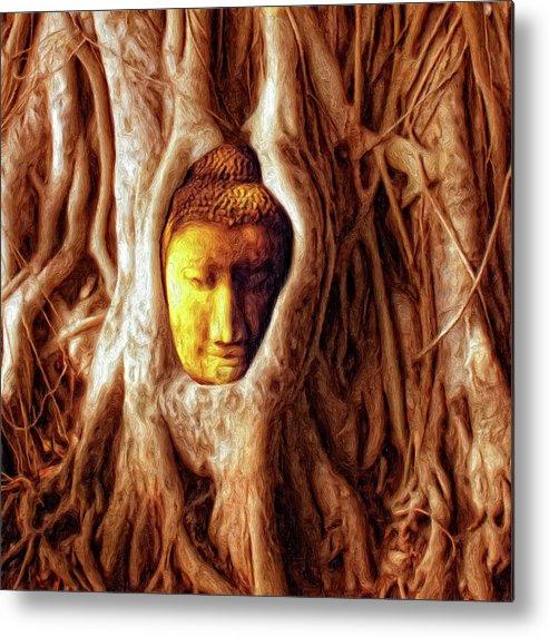 Buddha Of The Banyan Tree Metal Print featuring the painting Buddha Of The Banyan Tree by Dominic Piperata